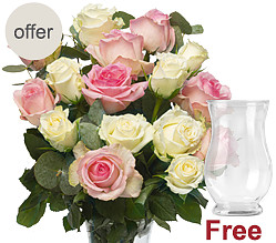 16 soft roses with vase