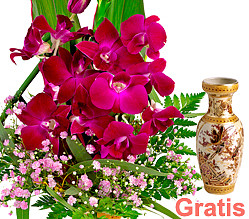 Asiatische Orchideen mit Vase