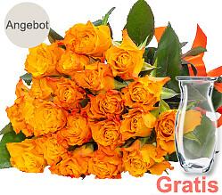 20 orange Rosen im Bund