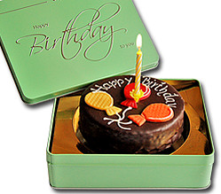 Sacher cake Happy Birthday with candle