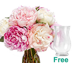 Wonderful peonies in a bunch