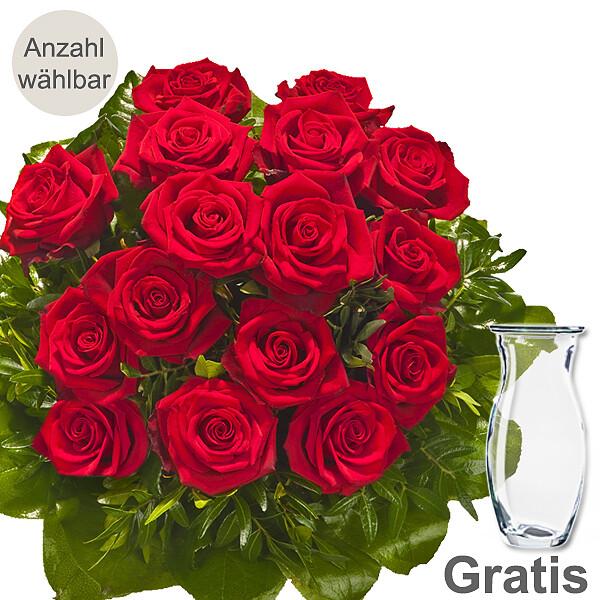 Rote Rosen als Strauß mit Vase