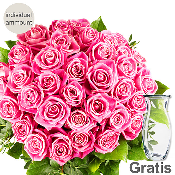 Individual pink roses with vase
