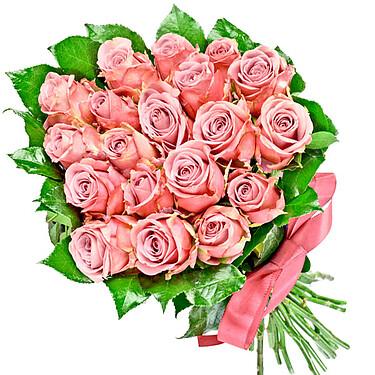24 pinke Rosen im Strauß