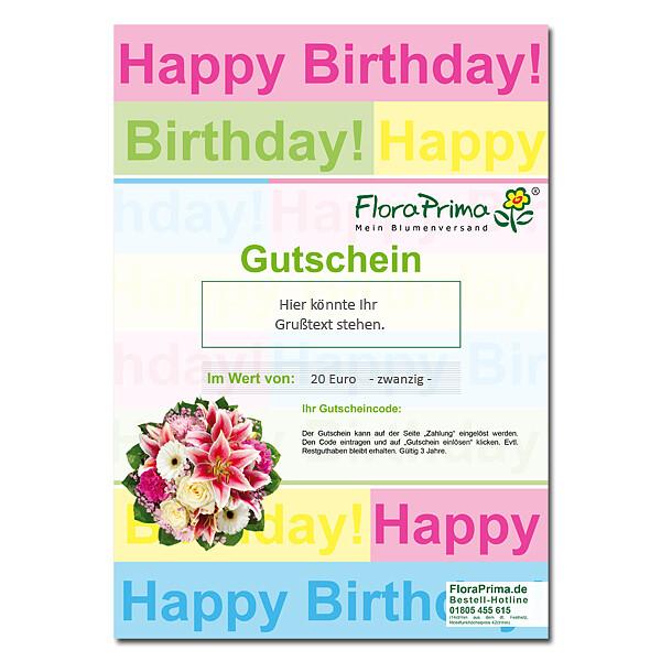 Digitaler Blumengutschein Happy Birthday BG1005