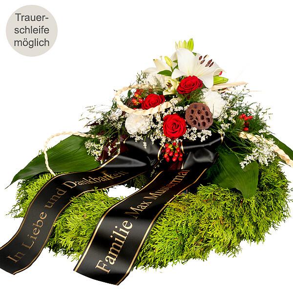 Trauerkranz mit roten Rosen und weißen Lilien 6183