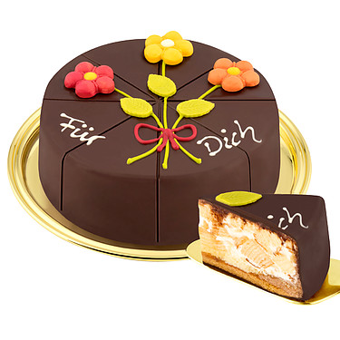 German Pyramid Cake with Marzipan Flower