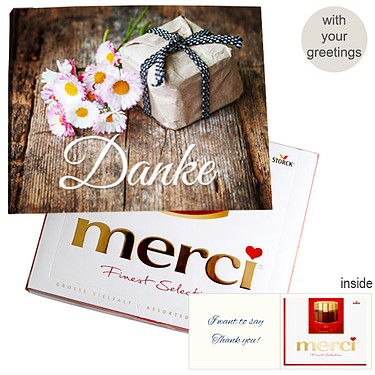 Personal greeting card with Merci: Danke