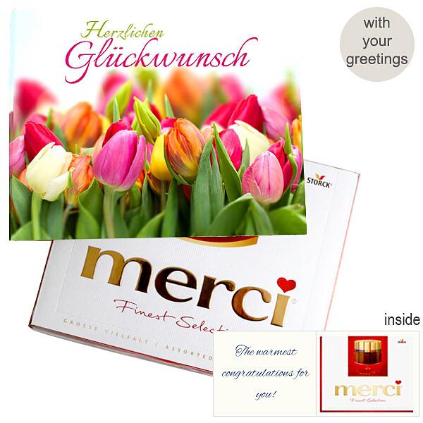 Personal greeting card with Merci: Herzlichen Glückwunsch (250g)