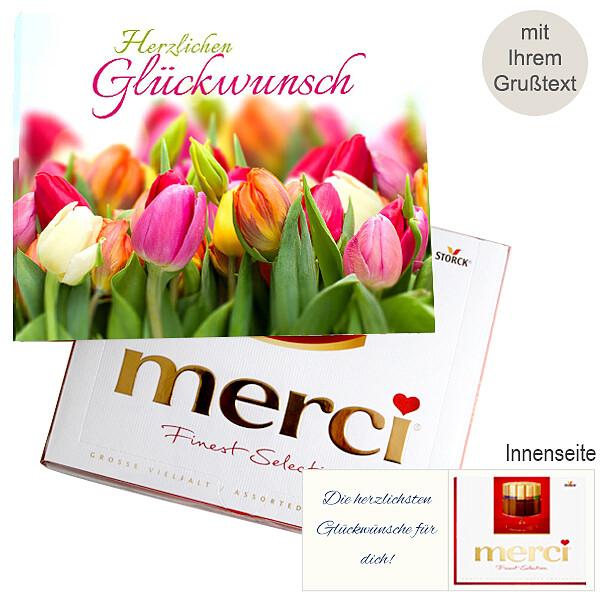 Personal greeting card with Merci: Herzlichen Glückwunsch