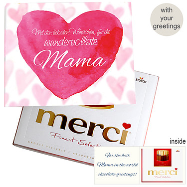Personal greeting card with Merci: Wundervollste Mama