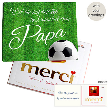 Personal greeting card with Merci: Wunderbarster Papa