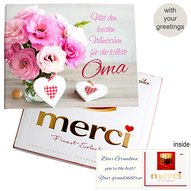 Personal greeting card with Merci: Tollste Oma