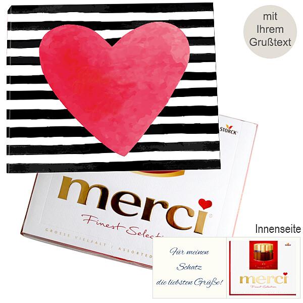 Persönliche Grußkarte mit Merci: Herz (250g)