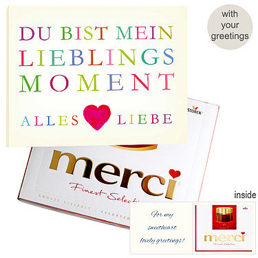 Personal greeting card with Merci: Lieblingsmoment