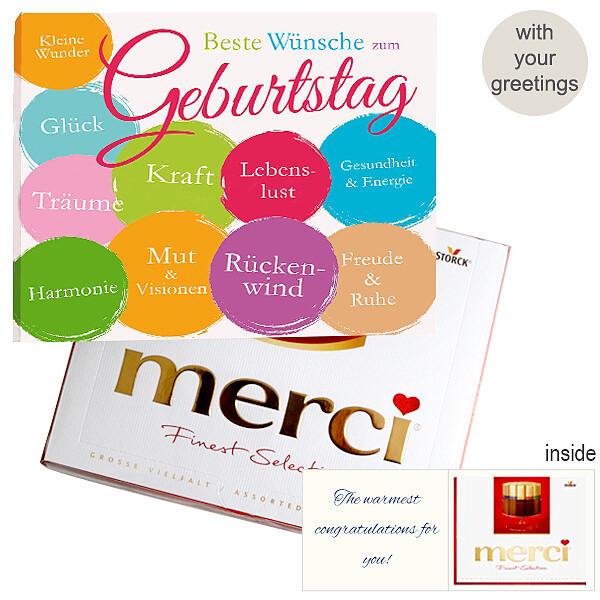 Personal greeting card with Merci: Beste Wünsche zum Geburtstag (250g)
