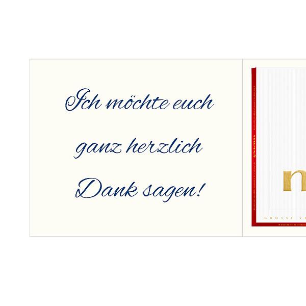 Persönliche Grußkarte mit Merci: Rosen (250g)