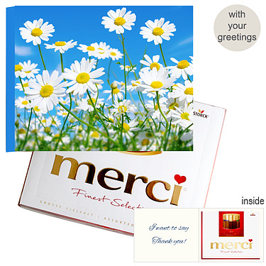Personal greeting card with Merci: Gänseblümchen (250g)